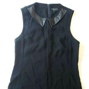Rag & Bone Astrid Black Lamb Leather Collar Top XS